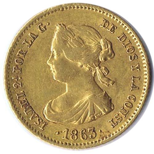 Moneda de oro 40 Reales Isabel II 1863 Madrid.