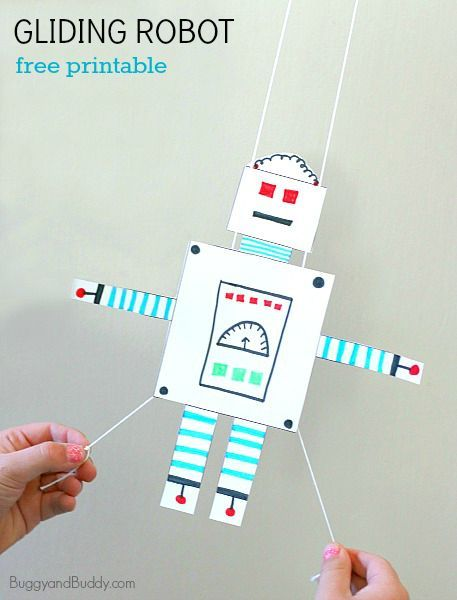 Art + Science for Kids: Free Printable Gliding Robot Craft (Perfect for a Rainy Day!)~ BuggyandBuddy.com