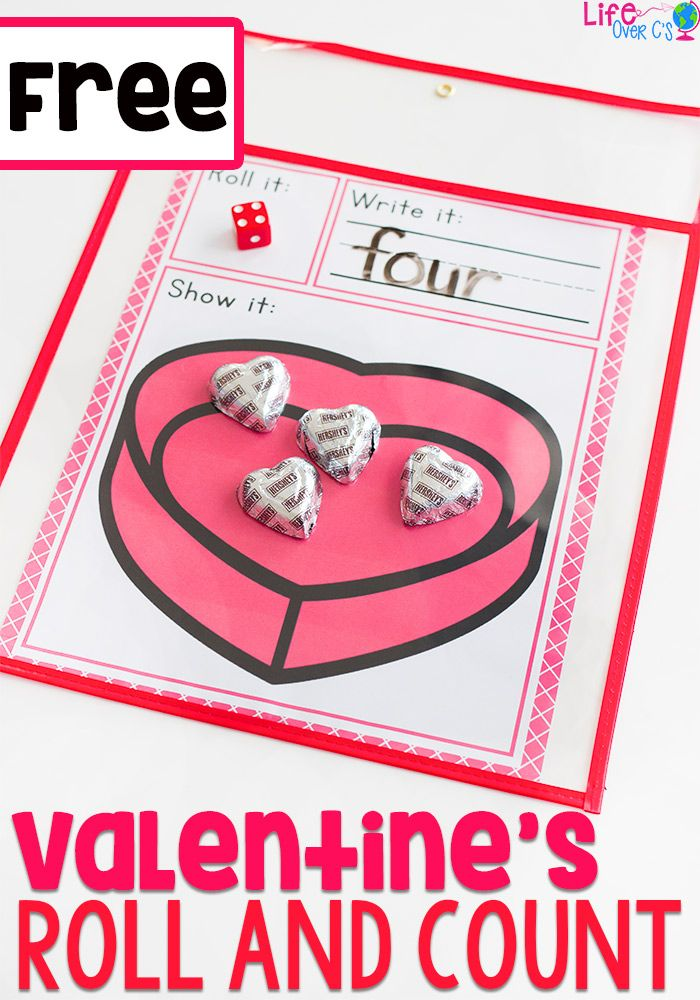 We love Valentine's Day! This simple free printable Valentine's Day roll and count math game for kindergarteners is perfect for February! Kids love rolling the dice, writing the numbers and counting the chocolates and cupcake sprinkles. #counting #kindergarten #valentinestheme via @lifeovercs