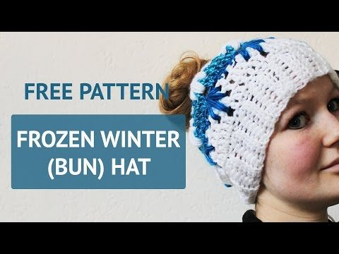 Frozen Winter Crochet Hat With Ponytail Hole Pattern
