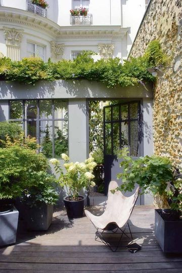 A small botanical garden flourishes in sheltered from the wind,', maples of Japan and vines Filled with earth, the heavy trays in zinc are easy to move, thanks to their wheels. A glycine bushy and terraced box the wall and the glass door separating the court from that of neighbors. Photographe : Nicolas Tosia