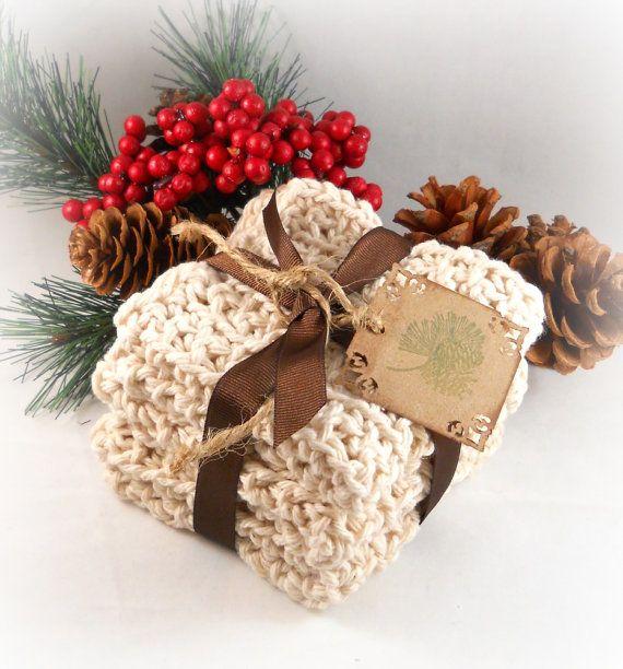 Hostess Gift Crochet Dish Cloths Neutral Woodland by foreverandrea, $18.99