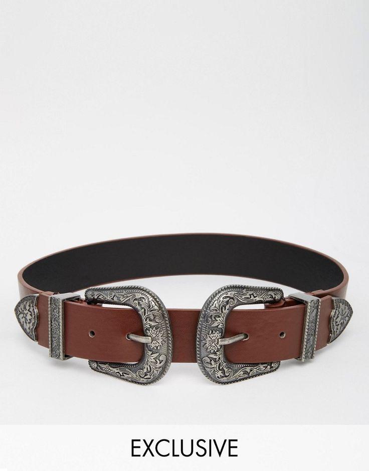 Imagen 1 de Cinturón estilo oeste con dos hebillas de Reclaimed Vintage