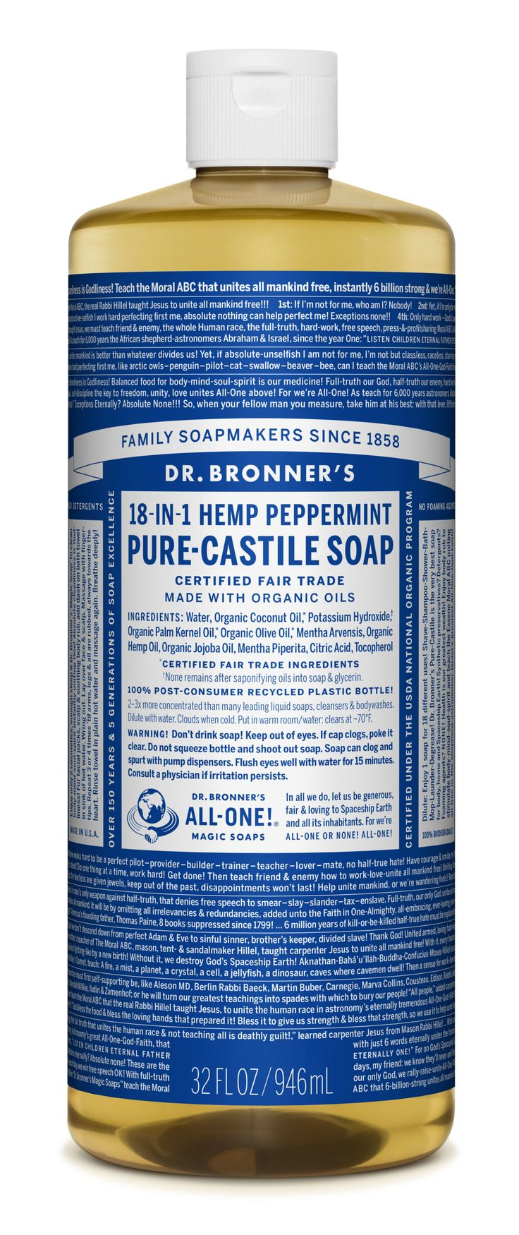 Dr. Bronner's 18-in-1 Hemp Peppermint Pure Castile Soap  - Delish.com