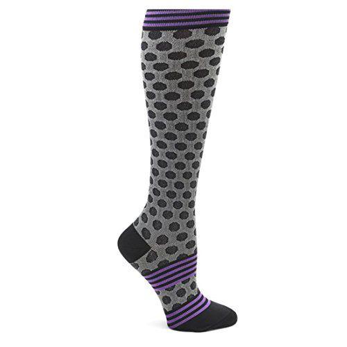 Nurse Mates Women's 12-14 Mmhg Compression Trouser Sock Black Sporty Dot