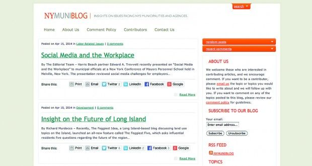 Uniondale-based multi-practice law firm Harris Beach runs NYMuniBlog, a New York government report that boasts fresh, informative content from more than 70 contributors.