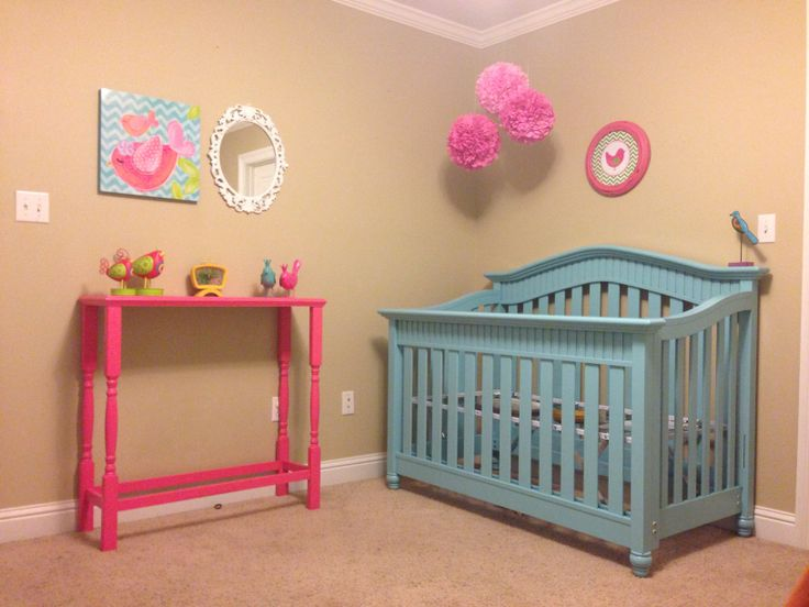 Baby room, little girls nursery, I am so proud of the table my hubs build for our little girl!  Painted crib, bird theme nursery