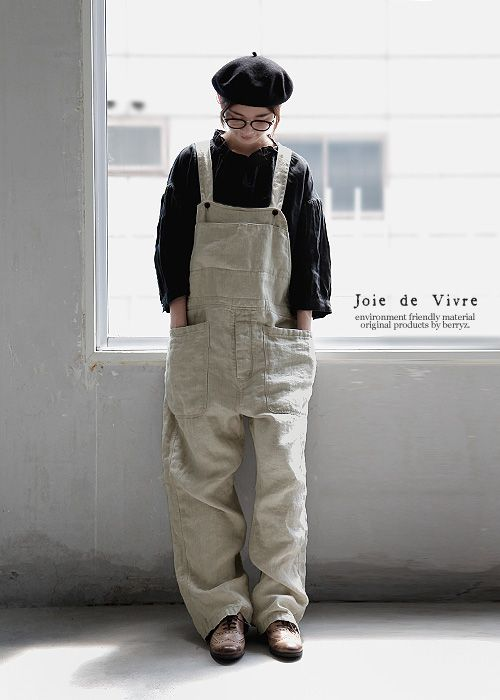 Joie de Vivre チノクロスリネンボールバイオウォッシュオーバーオール:BerryStyleベリースタイル