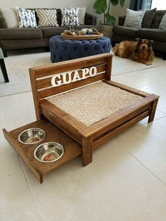 Awe Inspiring Medium Rustic Wood Dog Bed With Pull Out Feeding Station Machost Co Dining Chair Design Ideas Machostcouk