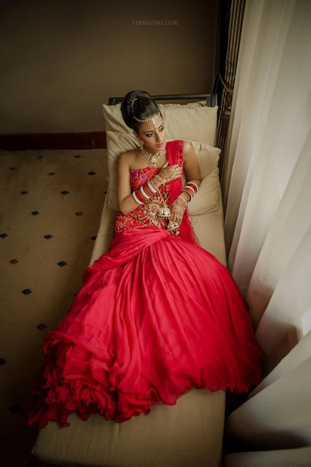 Indian bride--love the layered petticoat