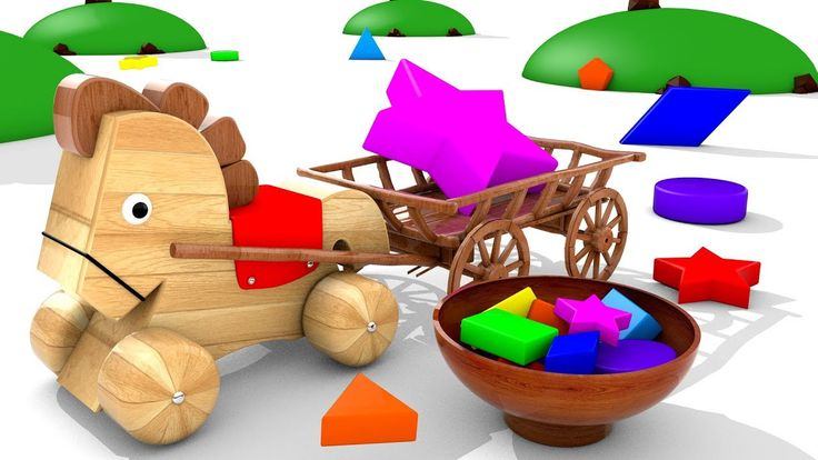 Learn Colors and Shapes for Children with Wooden Horse Cart Toys 3D Kids...