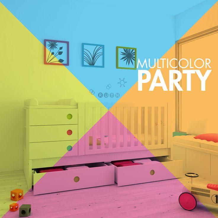Habitaciones de bebés, cunas convertibles y muebles infantiles MULTICOLOR ¡Porque la vida es de colorines!
