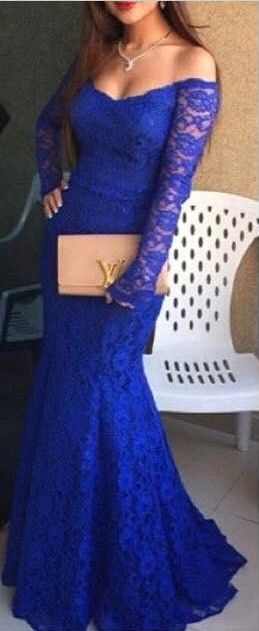 2016 Royal Blue Mermaid Prom Dresses Lace Off the Shoulder Long Sleeves Formal Evening Gowns
