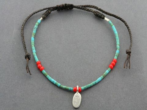 turquoise bead bracelet - oval