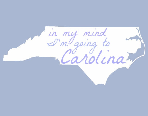in my mind I'm going to Carolina  Poster on Etsy