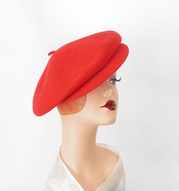 Red Kangol beret hat/ vintage brimmed cap by TheVintageHatShop on Etsy https://www.etsy.com/listing/216770050/red-kangol-beret-hat-vintage-brimmed-cap