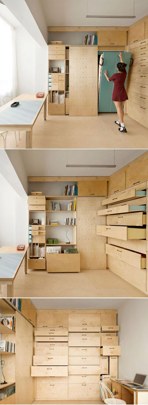 Architect Ranaan Stern turned a 15-square-metre room inside an apartment in Tel Aviv into a full artist's studio with two desks, 36 drawers, modular storage compartments, pegboard display walls and even a folding bed.
