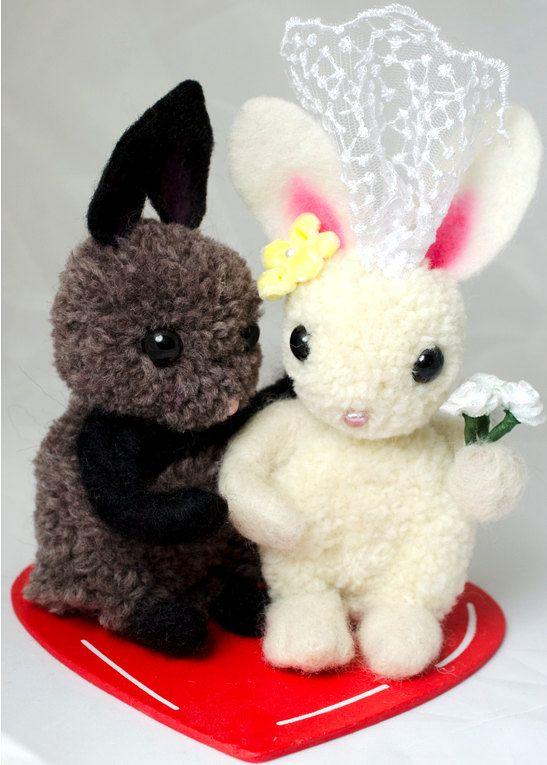 Whimsical  Bunny Wedding Cake Topper Pom Pom by innercreatures,