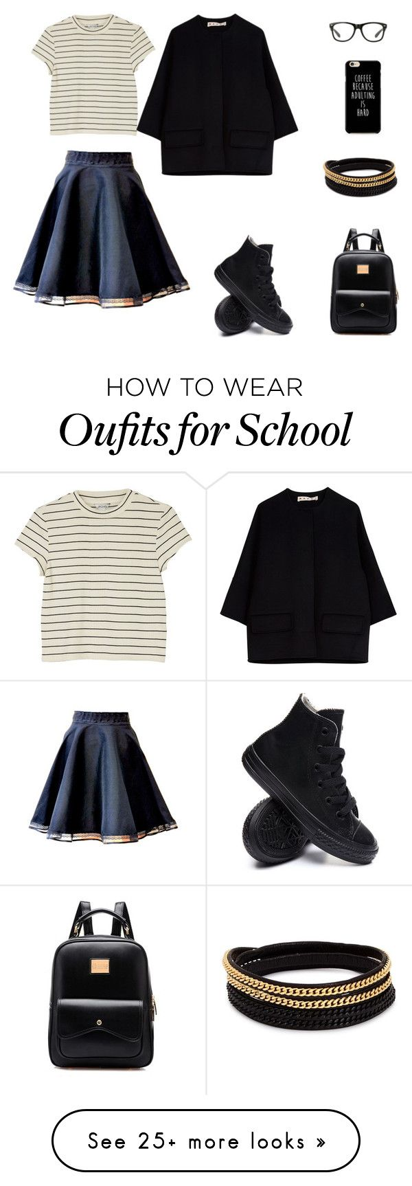 """School form"" by milena-roul on Polyvore featuring Monki, Marni, Converse and Vita Fede"