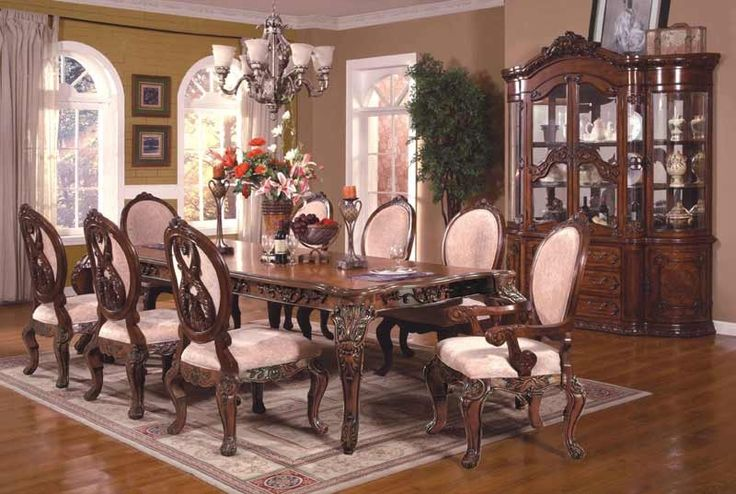 McFerran Home Furnishings - RD0017 12 Rectangle Dining Table Set in Cherry - RD0017-12SET