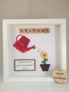 Grandma gardener Button Art Frame by Imaginewithbuttons on Etsy