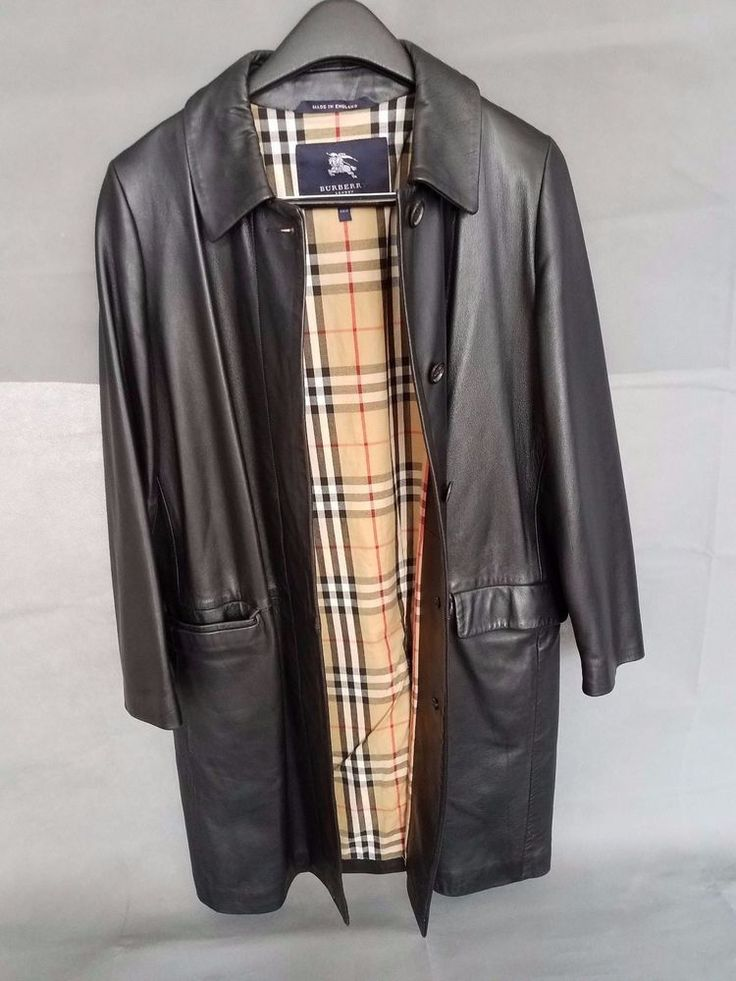 Burberry Black Leather Jacket Womens Size 12 UK #Burberry #Leather