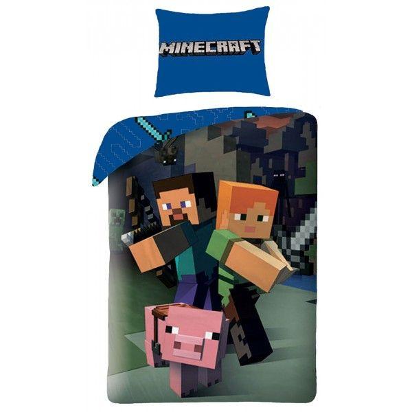 Minecraft sengetøj med Steve i 100% bomuld.