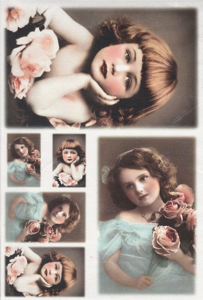 Rice Paper for Decoupage Decopatch Scrapbook Craft Old Pictures Brown Hair Girls
