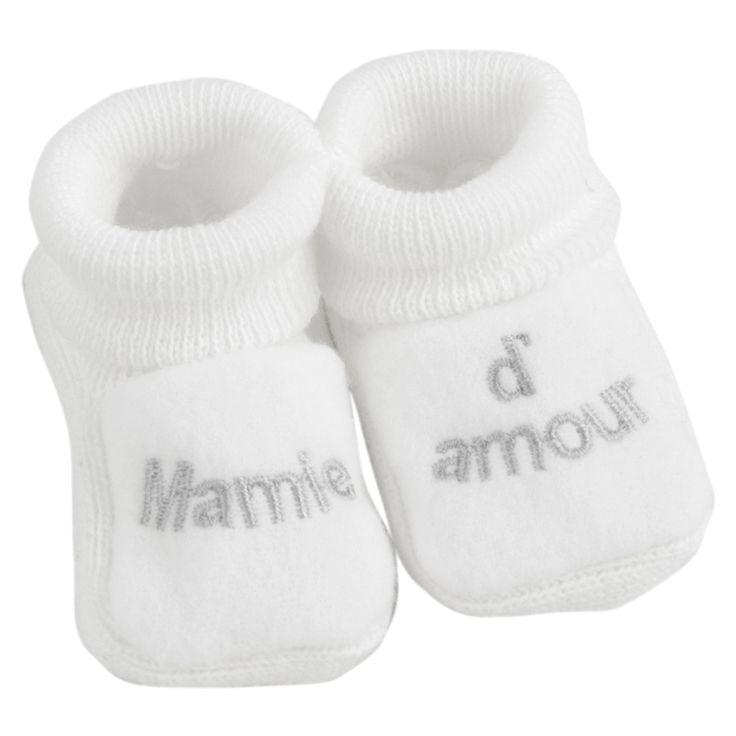 Chaussons naissance nouveau né brodés bébé j/'aime parrain