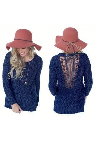 Blue Knit Sweater w/ Crochet Back   USTrendy size m