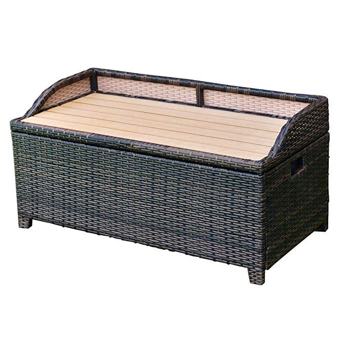 Tangkula Wicker Deck Box 50 Gallon Patio Outdoor Pool Rattan Container Storage Box Bench Seat Wicker Deck Box Deck Box Wicker Storage Ottoman