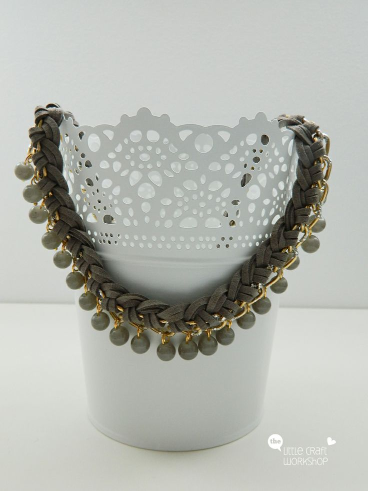 Handmade necklace - chain, suede leather, beads