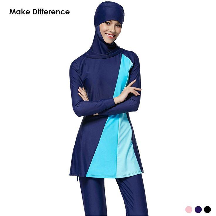 32.29$  Buy now - http://alitfq.shopchina.info/1/go.php?t=32729583720 - Make Difference Hijab Muslim Swimwear Girls Women Full Cover Modest Swimwear Plus Size Moslim Badmode Islamic Swimsuit Burkinis  #aliexpress