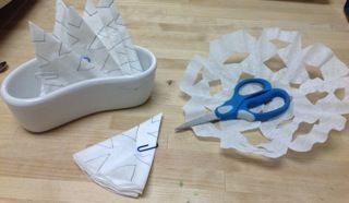 """Supported Coffee Filter Snowflakes - from Trillium Montessory ("""",)"""