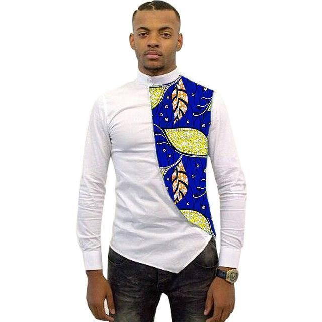 Asymmetrical Men's African Shirts, Men Kitenge Dashiki Shirt, Slim Fit African Clothing