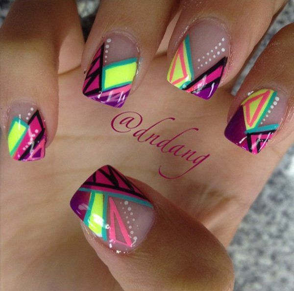 Colorful abstract nail art design. Using sheer polish as base coat. The design looks very fun and there's an explosion of patterns and colors in one go.