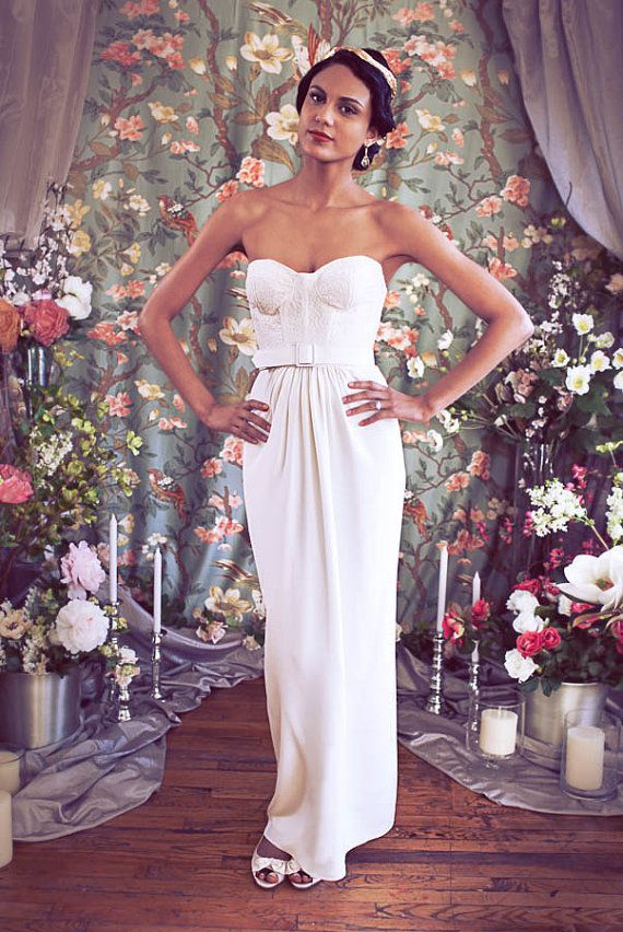 Chic, Tailored Bustier Wedding Dress with Lace, Strapless Sweetheart neckline, Floor length Crepe column skirt, The Phoebe-Jane via Etsy