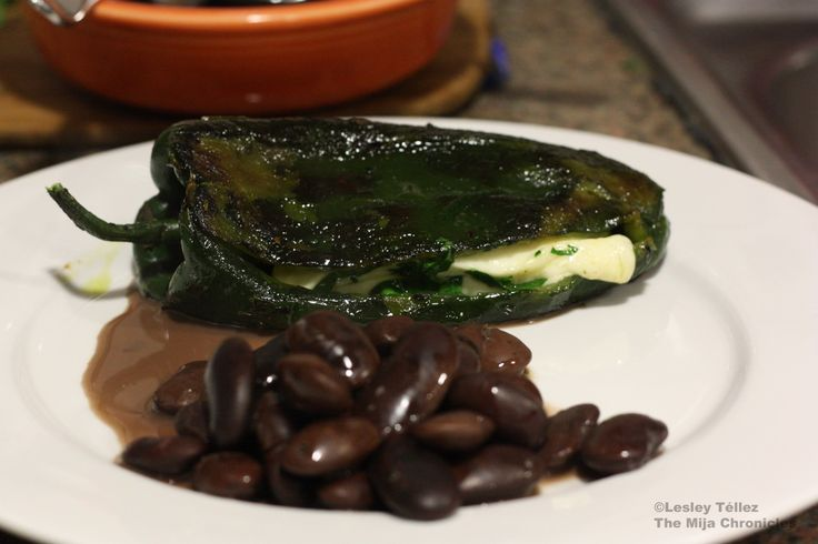 Chiles rellenos with panela cheese and epazote - YUMmmmmmm!!!