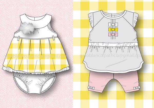 """BABY GIRL 0-24m """"Pink&Yellow Happiness"""" SS13 Collection by Patricia Gato Blanco, via Behance"""