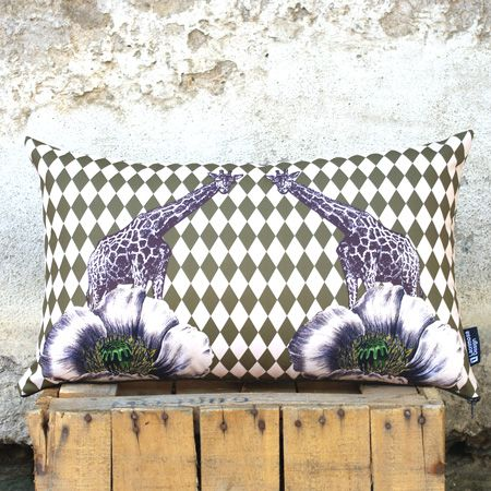 """""""Me and you"""" A very special combination of geometric pattern and monochrome gravure surrounds this pillow. A beloved pair of giraffes climbs up to the flowers' top. Add earthy tones to your room. Mingle it with large rectangular pillows in the same tones."""