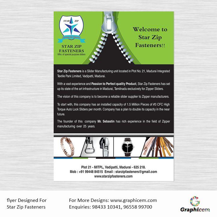 Flyer Designed For Star Zip Fasteners