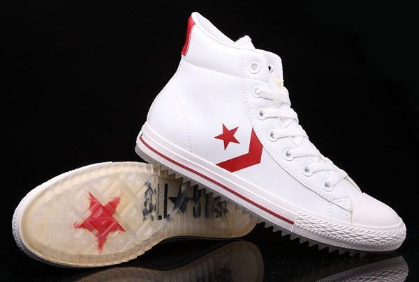 White Leather Converse Padded Collar Korea CT All Star High Tops Shoes #converse #shoes