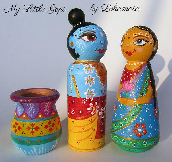 My Little Gopi - #Radha and #Krishna - #handpainted