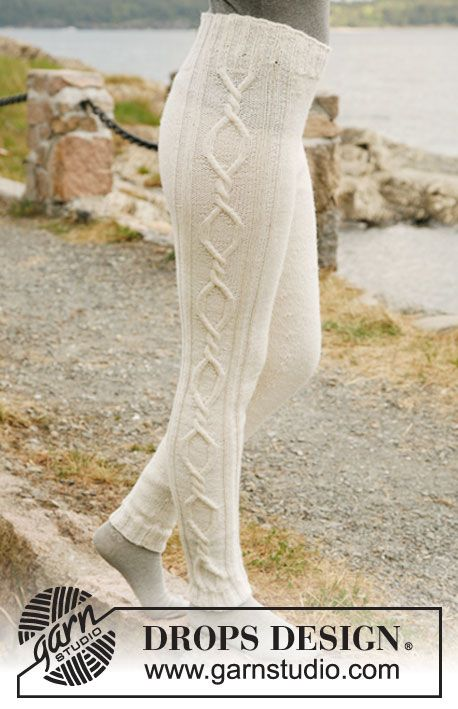 """Knitted DROPS tights with cables in """"Karisma"""". Size: XS - XXL ~ DROPS Design (on ravelry too)"""