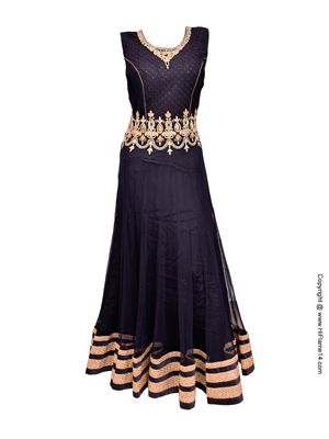 RENT : Black Net Floor Length Anarkali Suit. An amazing traditional design that will mesmerize the crowd with its beauty. The anarkali is decorated with amazing gold stone and embroidery work. The hem of the anarkali is enhanced with beautiful gold shimmer border, the bust size is 36 inches with top length 56 inches and attachable sleeves with a length of 22 inches.