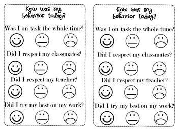 This is an easy-to-understand self assessment rubric for behavior and effort. Students rate themselves with Smiley Faces ( Good), Straight Faces (OK) and Frowny Faces (Needs Improvement).
