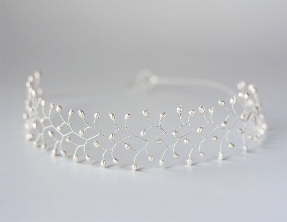 12_Pearl crown, Bridal crown, Silver crown, Wedding crown, Pearl hair…