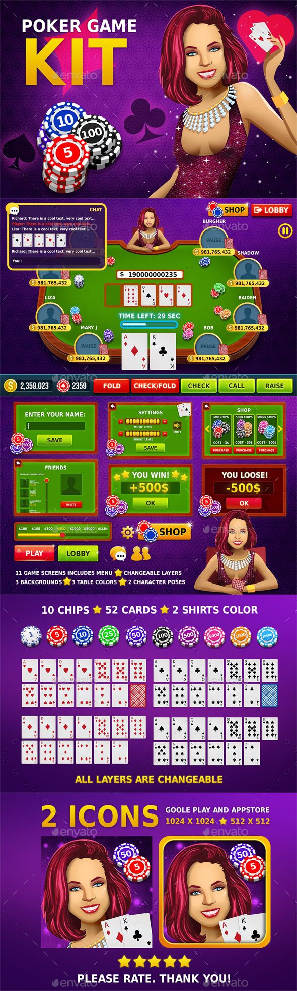 Poker Game Assets - Game Kits #Game Assets