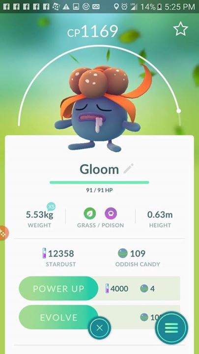I have this gloom and also one with a cp1190. But the hp is only 87. Pic in comments. Which one would b better to evolve. Jw thanks #pokemon #pokemongo #pokemoncommunity #shinypokemon