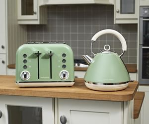Morphy Richards Sage Green Kettle & 4 Slice Toaster - New Retro Accents Range